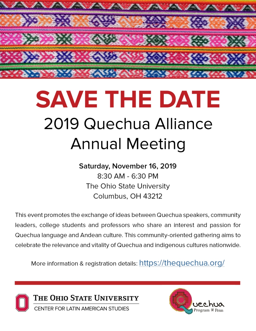 Quechua Alliance Save the Date 2019